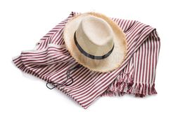 Straw hat striped plaid isolated white Picnic