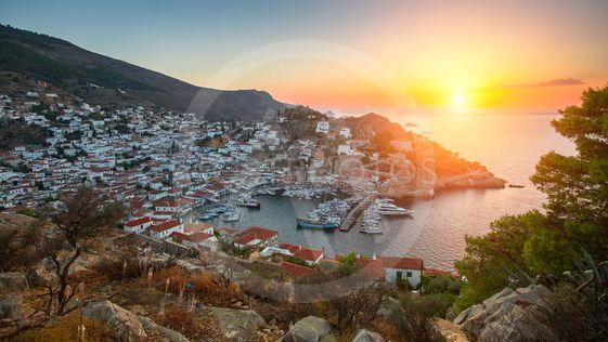 Panoramic views of the marina at Hydra island during...