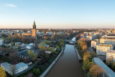 Aerial view of spring morning in Turku, Finland.