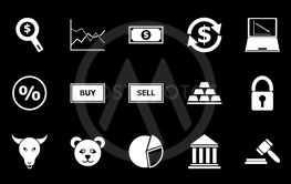 Forex icons on black background