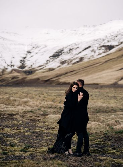 Destination Iceland wedding. Wedding couple on a...