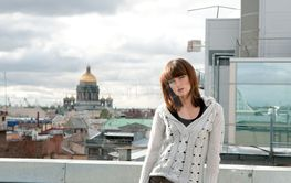Girl  over city background