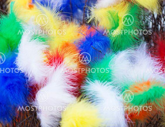 Påsk - dunfjädrar i olika färger