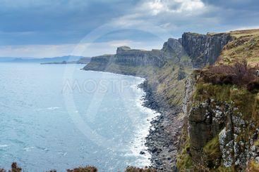 Cliffs near Kilt rock waterfall, Isle Of Skye, Scotland.