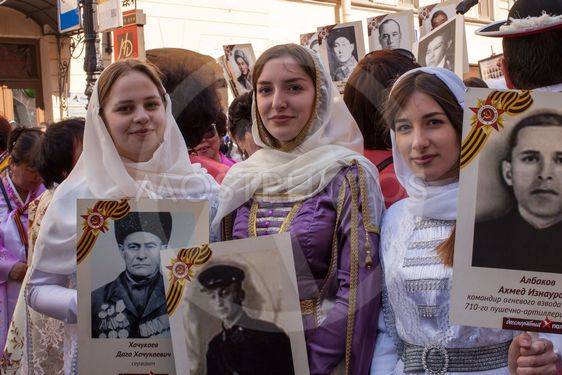 Participants of Immortal Regiment - public action, during...