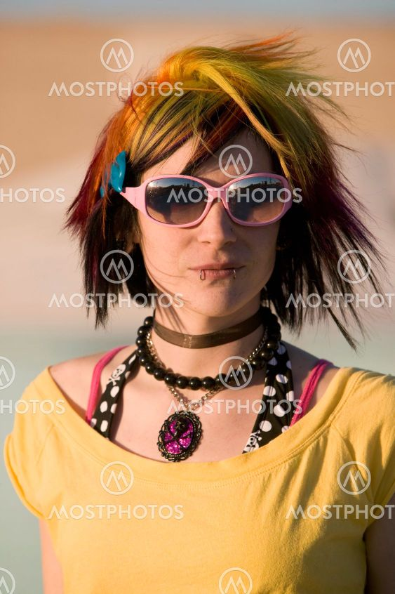 Punk Girl with Bright Colorful and Big Sunglasses