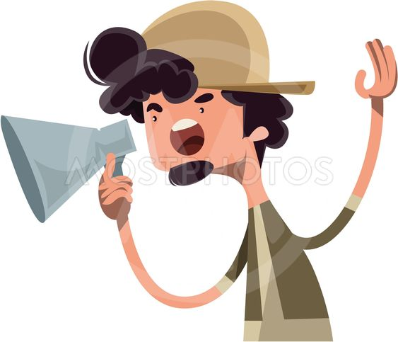 Movie director yelling cut vector illustration cartoon...