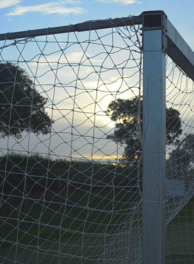 Soccer Goal in the morning