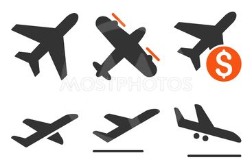 Aviation Flat Vector Icons