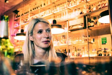 Blonde in a bar.