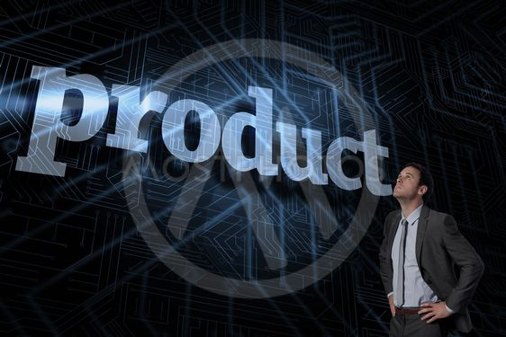 Product against futuristic black and blue background