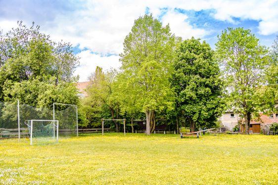 Small empty soccer field