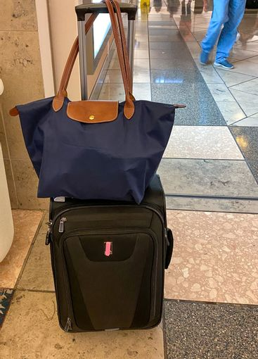 Luggage at a gate at the Orlando International Airport.