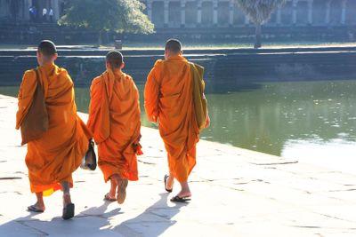 Monks walking into a temple, Angkor Wat