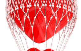 Hot Air Balloon of heart with heart. Wedding concept. 3d...