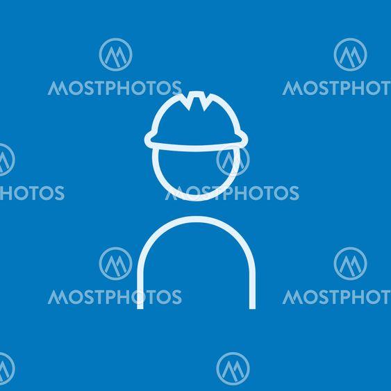 Worker wearing hard hat line icon.