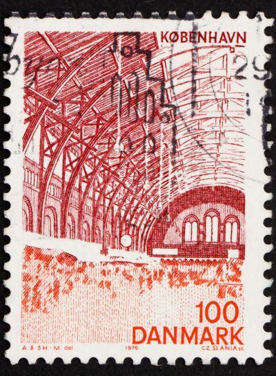 Postage stamp Denmark 1976 Central Station, Interior,...