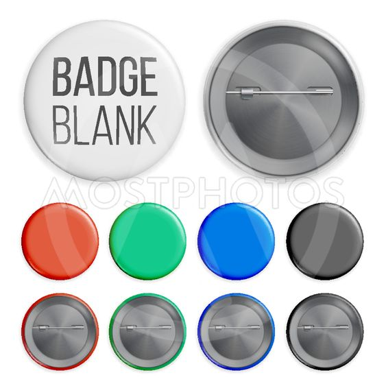 Blank Badges Set Vector. Realistic Illustration
