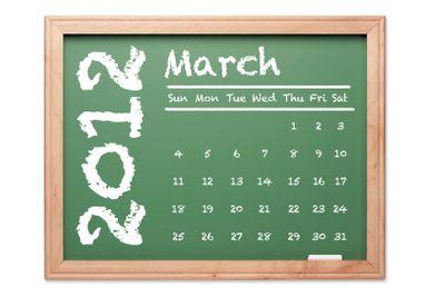 March 2012 Calendar on Green Chalkboard