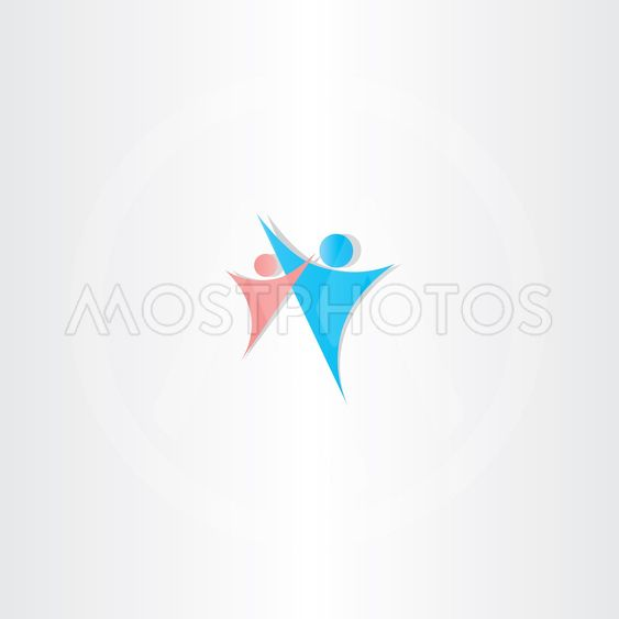 father and daughter vector icon logo element design