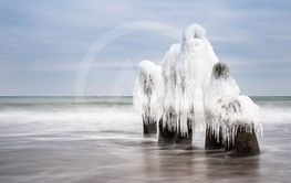 Winter on shore of the Baltic Sea in Kuehlungsborn, Germany