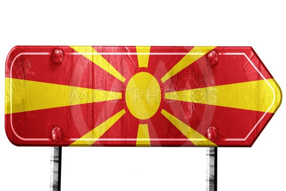 Macedonia flag, 3D rendering, road sign on white background