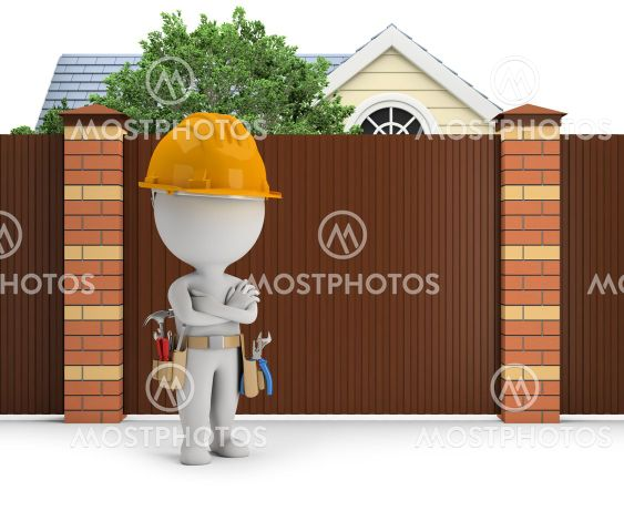 3d small people - repairer at the fence