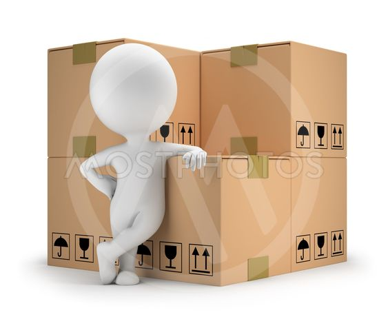 3d small people - delivery goods