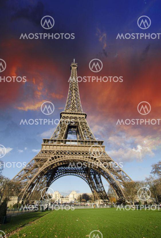 Colors of Eiffel Tower in Paris