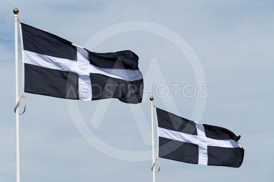 Two Cornish flags of St Piran