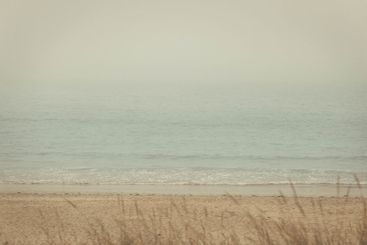 peaceful picture of the beach on a foggy morning