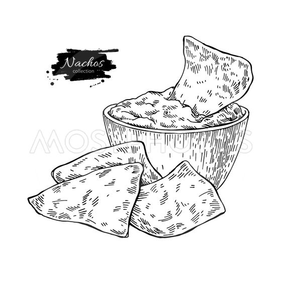Nachos drawing. Traditional mexican food vector...