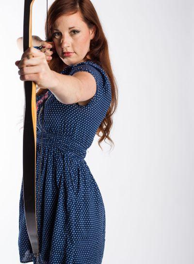 Female Archer With Bow Drawn