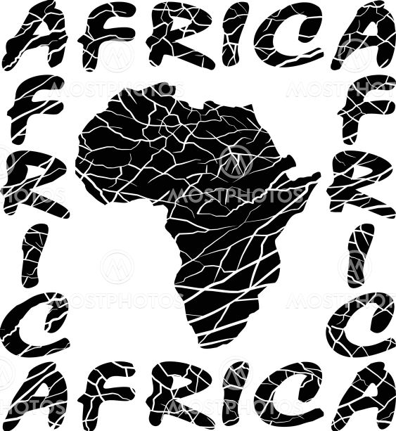 Map Africa - background with text and texture elephant