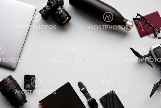 Flat Lay Shot Of Techno Items For Traveller With...