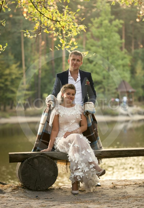Toned photo of groom hugging bride sitting on bench at...