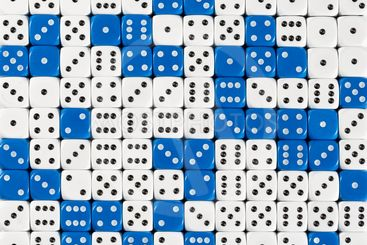 Background patteren of random ordered white and blue dices