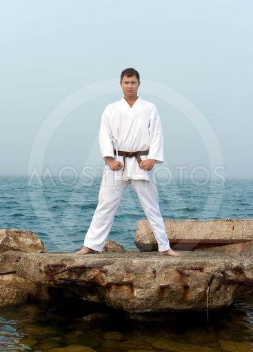 karate trains on the shores of the misty sea
