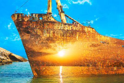 Greece,cyclades,amorgos : wreck