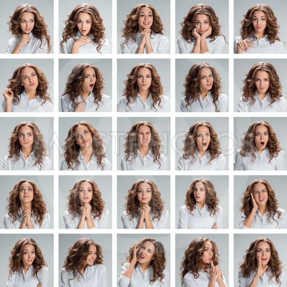 The collage from different woman emotions on gray...