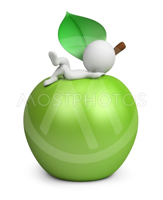 3d small people - lying on an apple