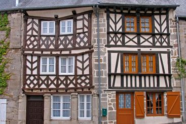 Moncontour, half timbered house, Brittany