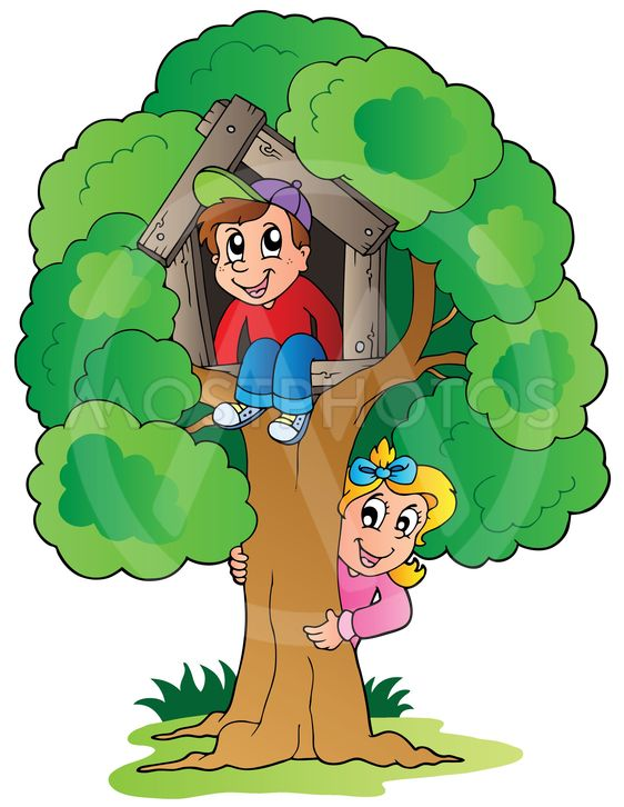 Tree with two cartoon kids