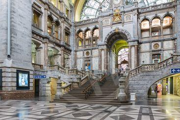 Famous Art Deco interior Antwerp main station, Belgium