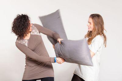 Pillow Fight between Two Beautiful Women