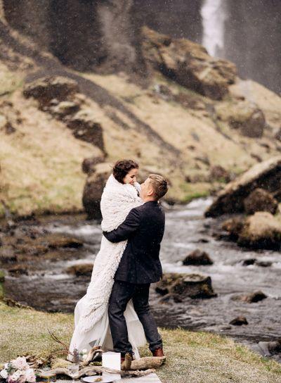 Destination Iceland wedding, near Kvernufoss waterfall....