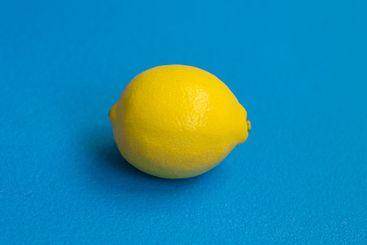 Lemon on a blue background