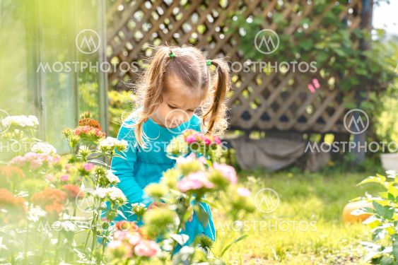 Little girl vomits flowers at the cottage