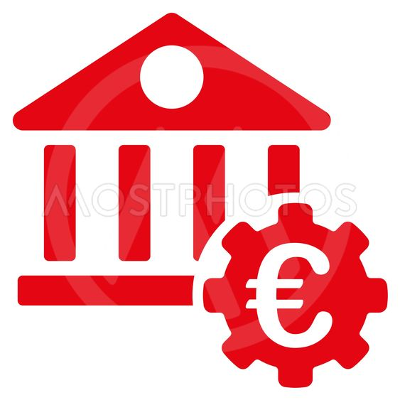 Euro Bank Building Options Flat Glyph Icon
