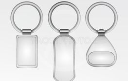 Realistic Template Metal Keychain Vector Set. 3d Key...